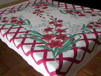 Startex Red Gladiola Vintage Tablecloth 50x64