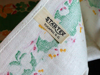 Green and Yellow Irises Floral Startex Vintage Kitchen Tea Towel