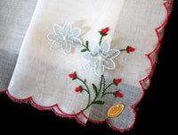 Blue Tremblers & Red Embroidered Flowers Vintage Handkerchief
