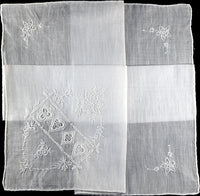 Embroidered Four Suits Vintage Linen Handkerchief, Madeira