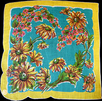 Sunflowers Irish Linen Vintage Handkerchief