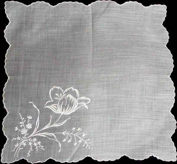 Embroidered White Tulip Vintage Handkerchief, Switzerland