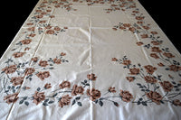 Tan Roses and Gray Leaves Vintage Tablecloth 74x58