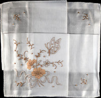 Embroidered Butterfly and Flowers Madeira Vintage Handkerchief