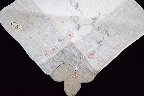 Applique Gray and Pink Vintage Linen Handkerchief, Madeira