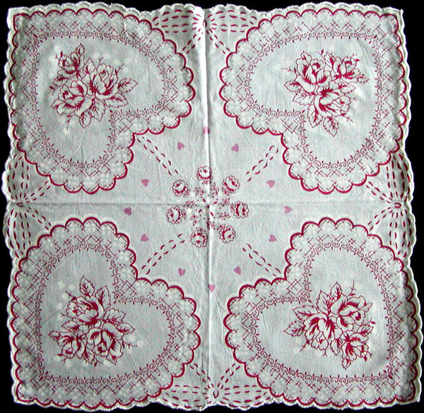 Red White Hearts and Roses Valentine Handkerchief