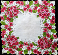 Tropical Red and Pink Flowers Vintage Handkerchief, 14 inches