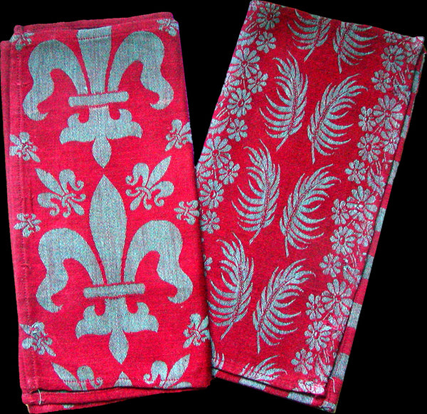 Antique Turkey Red & Blue Damask Towels, Pair