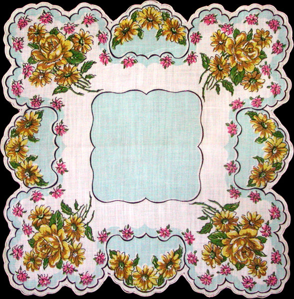 Yellow & Pink Floral Scalloped Vintage Handkerchief