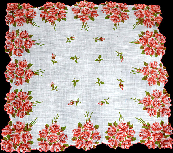 Border of Redwood Rose Nosegays Vintage Handkerchief