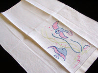 Underwater Fish Embroidered Vintage Linen Towels, Pair