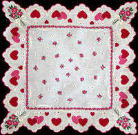 Hearts and Roses Vintage Valentine Handkerchief