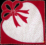 Polka-Dot Heart w Big Bow Vintage Valentine Handkerchief