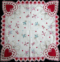 Hearts and Bluebirds w Love Letters Valentines Day Handkerchief
