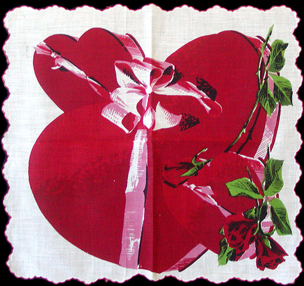 Valentine Heart-Shaped Candy Boxes Vintage Handkerchief
