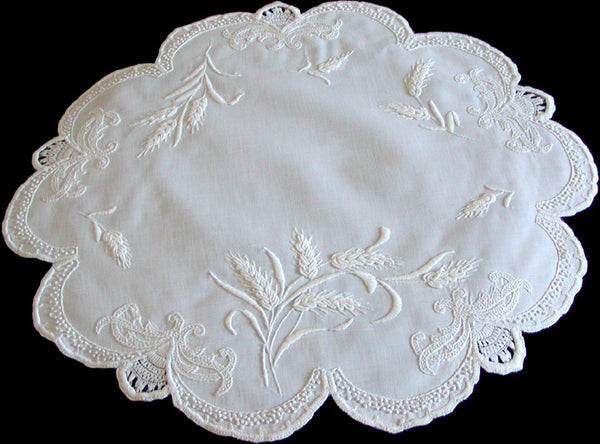 Antique Mountmellick Whitework Embroidered Oblong Doily 20x22