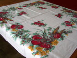 Victory Garden Vegetables Vintage Tablecloth, 45x49