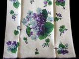 Hardy Craft Viola Violets Vintage Linen Kitchen Towel - NOS