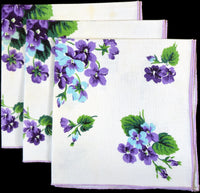 Hardy Craft Viola Violets Vintage Linen Napkins, Set of 3