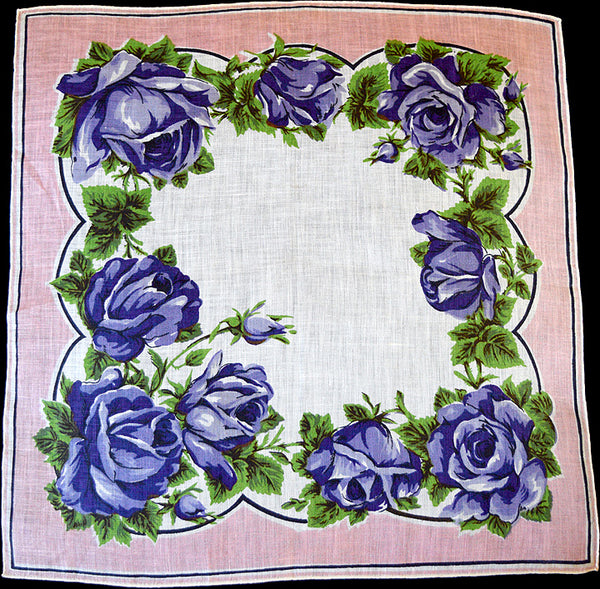 Purple Roses Irish Linen Vintage Handkerchief
