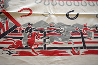 Country Western Ranch Life Cowboys Vintage Tablecloth 46x66