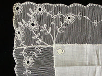 Flowered Lace & Linen Vintage White Bridal Wedding Handkerchief