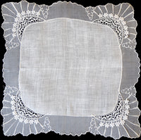 Organdy and Flower Lace Linen Vintage Wedding Handkerchief