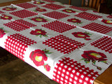 Gingham Flower in Red Vintage Wilendur Tablecloth 54x47