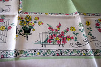Wrought Iron Bird Cages Clocks Planters Vintage Tablecloth 50x50