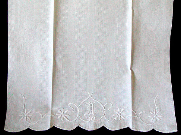 Antique Damask Pheasant and Stripes Linen Guest Towel, Whitework Monogram N