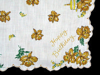 Happy Birthday Yellow Orchids Vintage Handkerchief