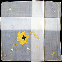 Embroidered Yellow Satin Flower Vintage Handkerchief Madeira