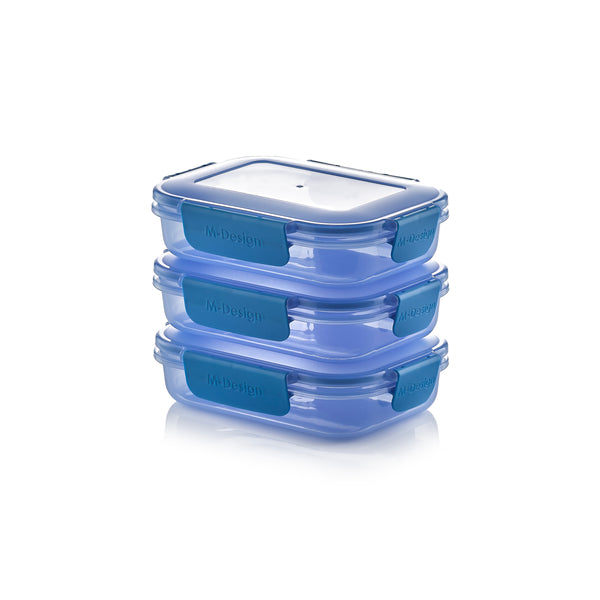 Fresco Lunch Box Pack of 3 - 600ml - Free 9 Pc. Cutlery Set