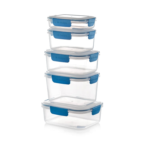 Fresco Food Container Set - 600ml, 1100ml, 1600ml, 2100ml & 2300ml