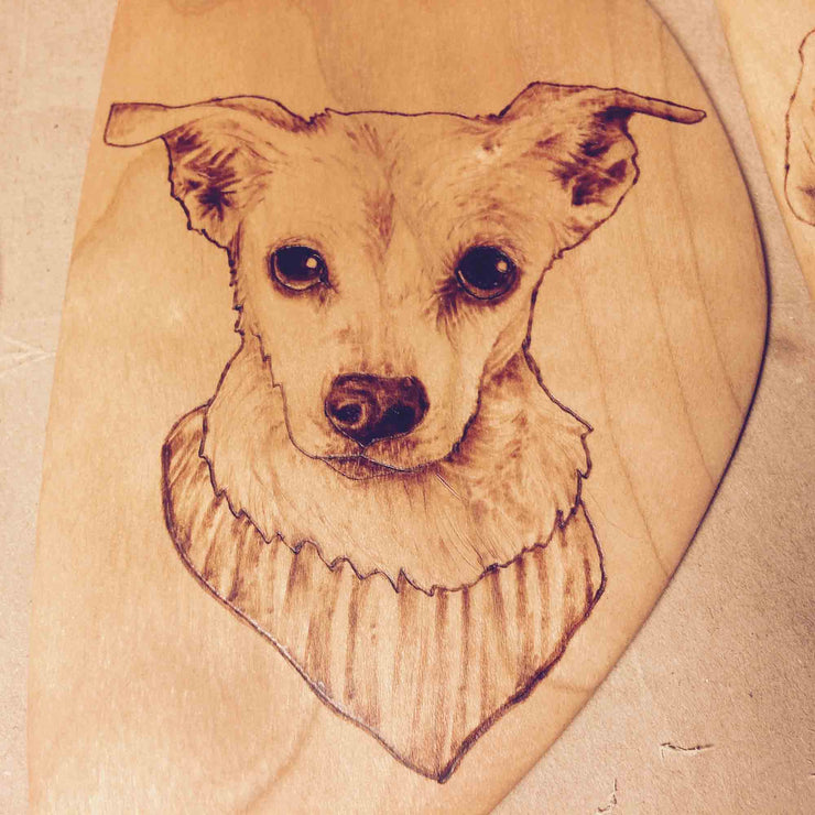 Custom Pet Portrait | Wood Burned Kitchen Spatula
