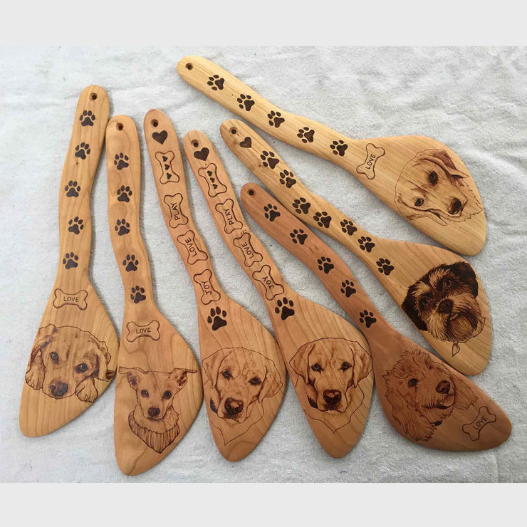 Custom Pet Portrait On Wood Burned Kitchen Utensils | Bear and Badger