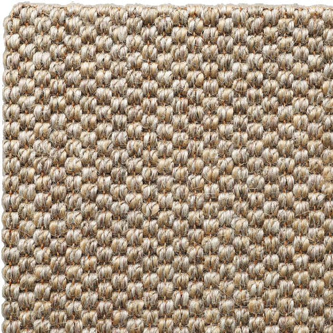 A corner from a turn-and-stick rug in Belgian Wild Rice Sisal