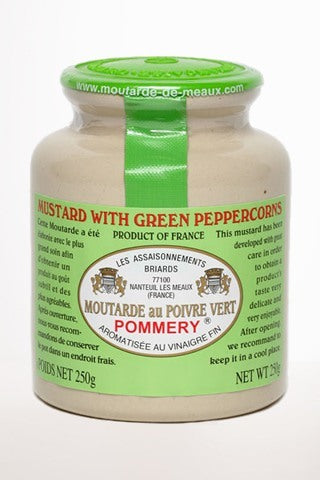 Gourmet Food - Green Peppercorn Pommery Mustard Stone Jar 250g 8.8 Oz