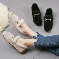 Women's Loafers Ladies Warm Short Plush Non-Slip