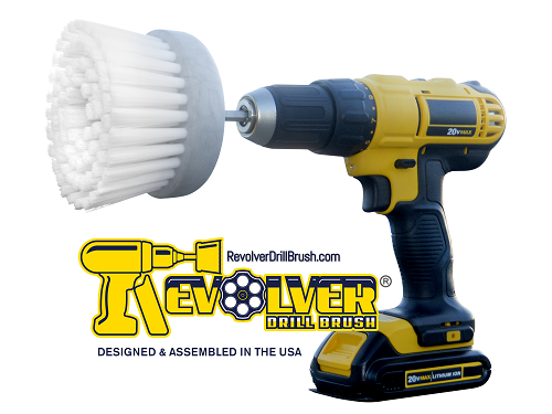 The REVOLVER DRILL BRUSH® DRILL ATTACHMENT BRUSH - POWER SCRUBBER!