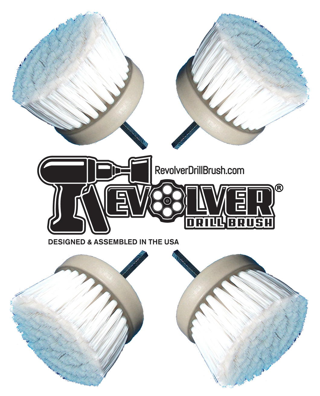 The REVOLVER DRILL BRUSH® POWER SCRUBBER QUAD PACK