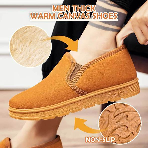 Men Thick Warm Canvas Shoes