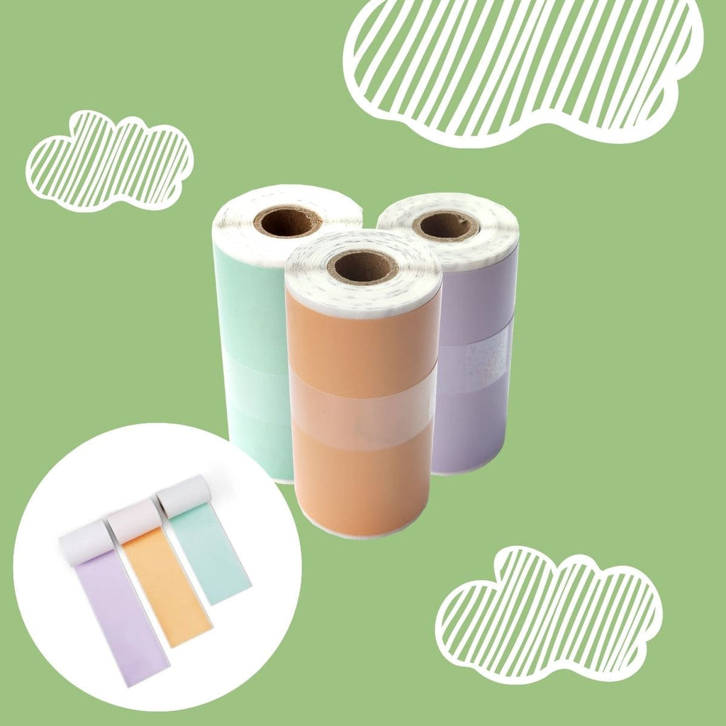Poooliprint sticky colored paper 3 rolls