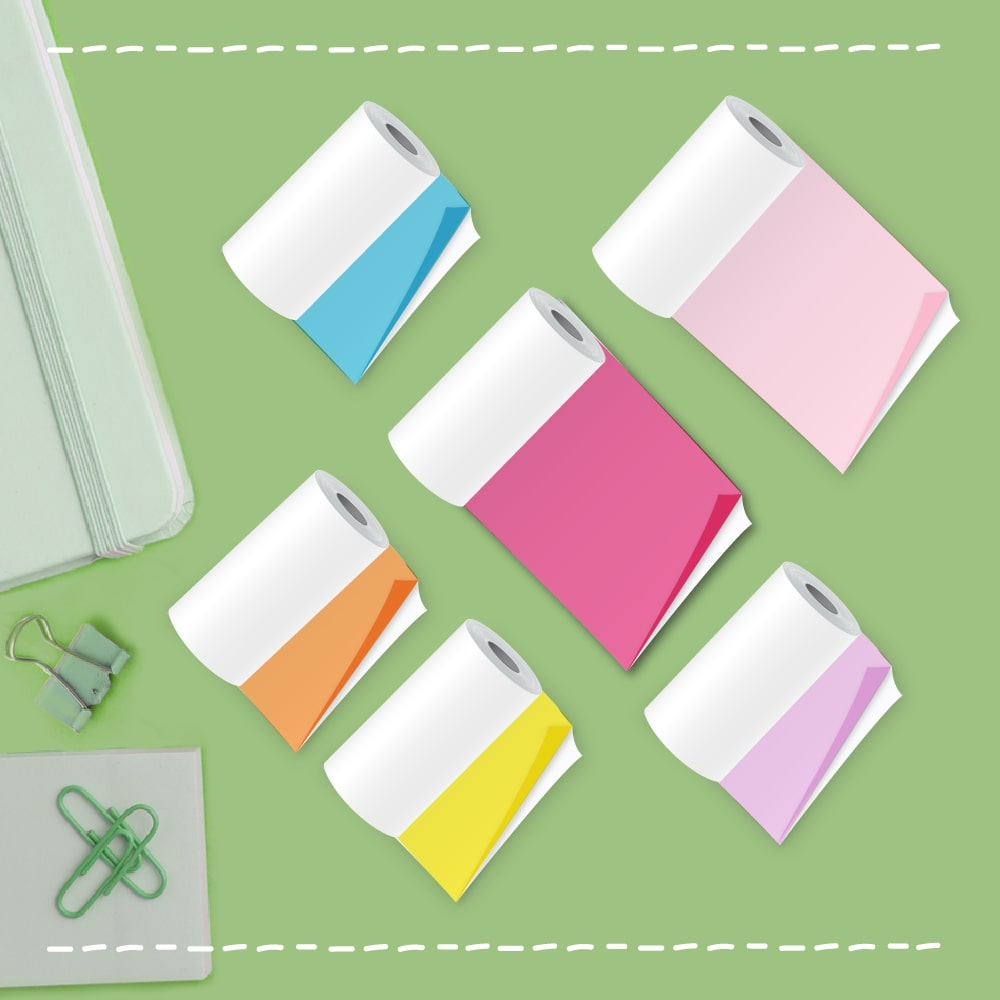 poooliprint 6 colors sticky thermal paper rolls