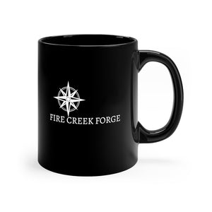 Fire Creek Forge Logo Coffee Cup Black mug 11oz Elijah Williams Knives - FireCreekMercantile