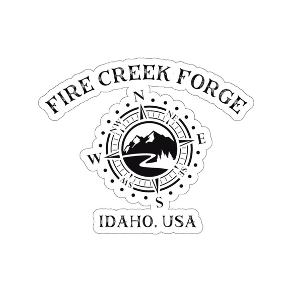 Fire Creek Forge Logo Black and White stickers Kiss-Cut Stickers - FireCreekMercantile