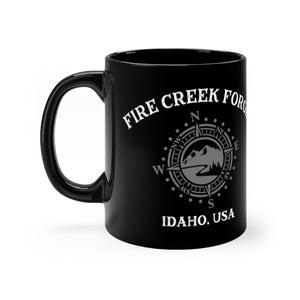 Fire Creek Forge Coffee Cup compass adventure logo hand crafted knives Black mug 11oz - FireCreekMercantile