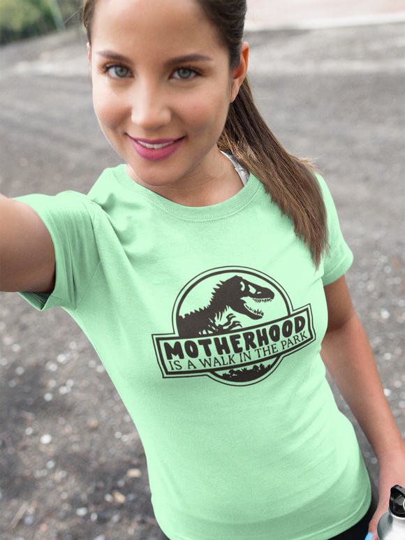 Motherhood is A Walk in the Park, Jurassic Park, Disneyland Shirts Unisex Jersey Short Sleeve Tee - FireCreekMercantile