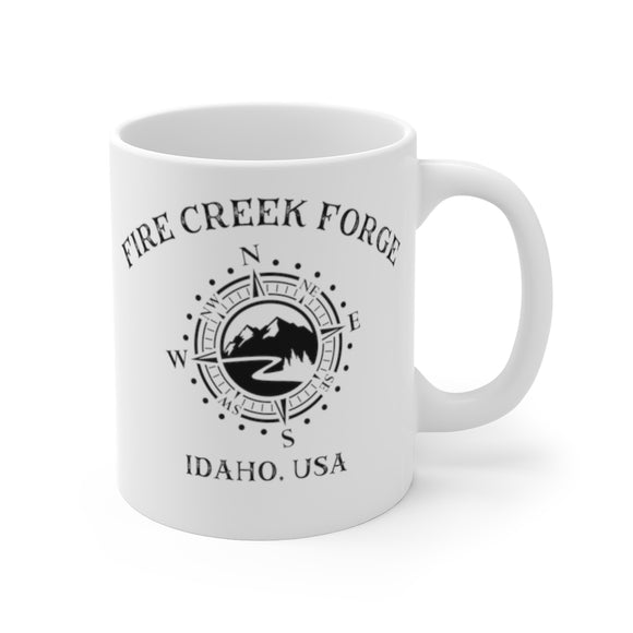 Fire Creek Forge Coffe Cup compass logo adventure hand crafted knives Mug 11oz - FireCreekMercantile