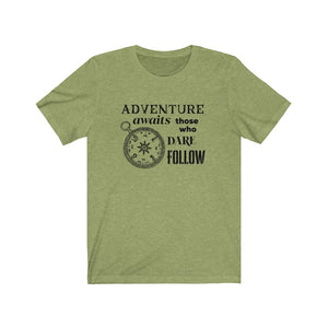Adventure Awaits, Compass Shirt, Those Who Dare Follow Unisex Jersey Short Sleeve Tee - FireCreekMercantile